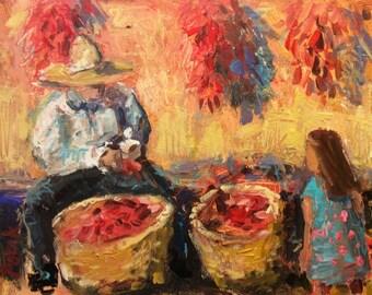Southwest Art original painting, The Chili Man, Russ Potak