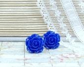 Royal Blue Earrings Rose Studs Blue Flower Earrings Blue Studs Rose Stud Earrings Hypoallergenic