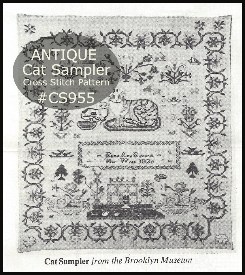 Cat sampler antique cross stitch vintage museum