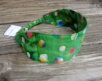 Wide Fabric Headband with Elastic: Bright Green Batik