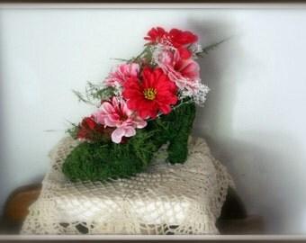 Sale Moss Shoe planter centerpiece-Pink zinnias-bleached gyp-Plumosa fern-Silk flowers-NO water needed-Preserved Moss