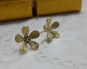 Gold Plated Flower Floral Stud Earring, Flower Earrings