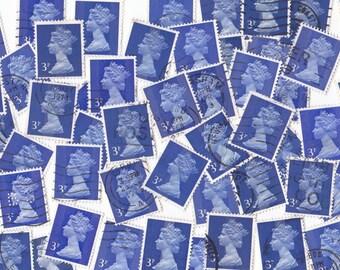 50 x Dark Blue Queen Elizabeth British Postage Stamps from United Kingdom