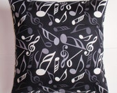 """Throw Pillow Cover, Accent Pillow, Toss Pillow, Decorative Cushion Cover, Musical Notes in Black & White, Waverly Fabric, 16x16"""" Square"""