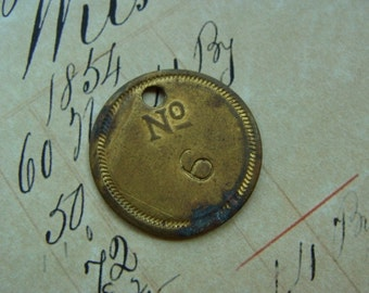 One Stunning Antique French N0 6 Salvaged Numbered Metal Tag