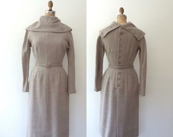 1950s dress/ grey wool dress / Devery dress