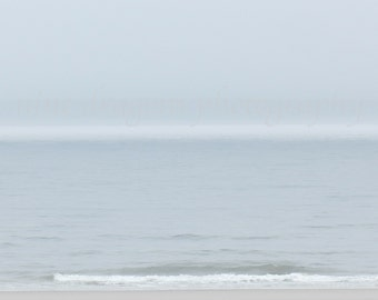 Pale Blue Beach Photography, Foggy Beach Ombre Wall Art, Ombre Ocean Photography,Pastel Abstract Art,Minimalist Beach Art,Nature Photography