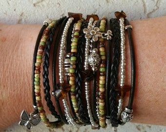 Brown Leather Wrap Bracelet - Earthtone Miyuki Beads - Multistrand Wrap Bracelet - Boho Life - Choose FOUR Charms - Customizable