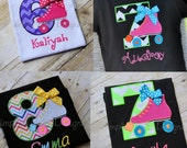 Custom roller skate birthday shirt Personalized. Girl's XS to XL. Can customize to party colors.