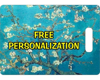 Almond Branches Van Gogh Painting Personalized Rectangle Luggage Tote Bag Tag