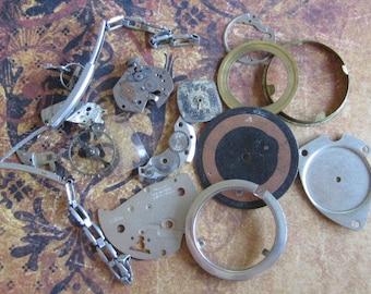 Steampunk Destash - Vintage WATCH PARTS gears - Steampunk parts - k3  Listing is for all the watch parts seen in photos