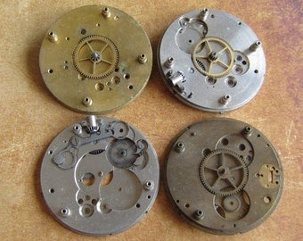 Vintage Antique Watch movements parts Steampunk - Scrapbooking u7