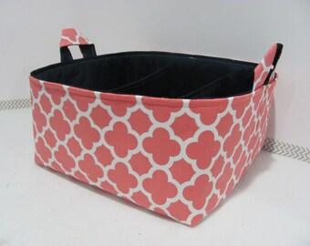Fabric Diaper Caddy - Storage Organizer Bin - Nursery Decor - Baby - Gift Basket - Change Table Basket - Diaper Bag - Quatrefoil Coral