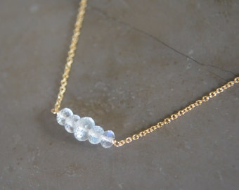 Rainbow Moonstone Bar Necklace June Birthstone