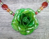 REAL Emerald Green ROSE and Carnelian and Pearls Sterling Silver Statement Necklace