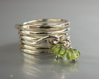 Silver Peridot Ring,Peridot Stone Ring, Silver Ring, Peridot Ring, 925 Sterling Silver Ring, Stone Ring, Gemstone Ring, August Birthstone