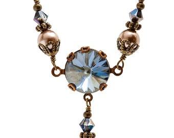 Swarovski Crystal Necklace, Rivoli Necklace, Crystal Blue Necklace