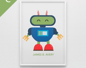 Robot art print for boys bedroom personalized with name