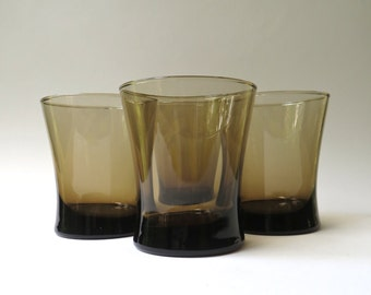 Mid Century vintage Smoke Brown High Ball Hourglass Glasses / Mid Century Barware / Set of 4