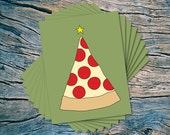 Pizza Tree - set of 8 - A2 folded note cards & envelopes