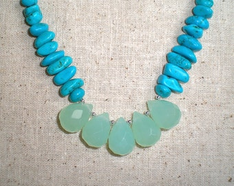 Seafoam Green Chalcedony and Turquoise Howlite 17 Inch Necklace (Item X 74)