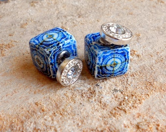 Portugal Tile Antique Azulejo Tile Replica FRONT BACK EARRINGS 17th Century Blue