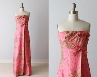 1960s Formal Dress / Strapless / Column Dress / Silk / Eveing Dress / Rappi
