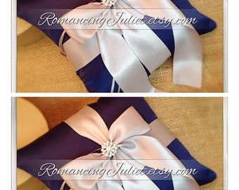 Romantic Satin Elite Ring Bearer Pillow...You Choose the Colors...SET OF 2...shown in navy blue/silver gray