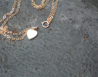 Tiny Vintage ANSON 12 K Gold Filled Heart Charm Birthstone Charm Necklace
