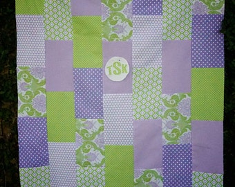 Baby Quilt - Modern Quilt - Personalized Quilt - purple Quilt - green Quilt - Baby Blanket - Girl Quilt - monogrammed quilt - purple green
