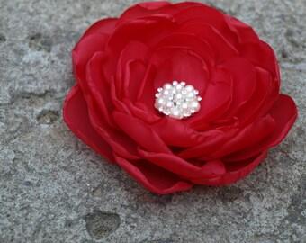 Red Flower Brooch or Hair Clip