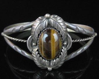Cuff Bracelet, Navajo, Sterling Silver, Tigers Eye, Silver Cuff Bracelet, Brown Oval Stone