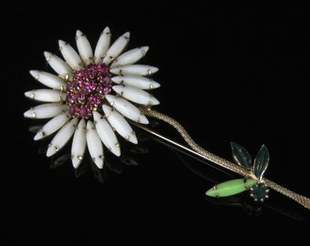 Large Vintage White & Pink Plower Flower Brooch Costume Jewelry