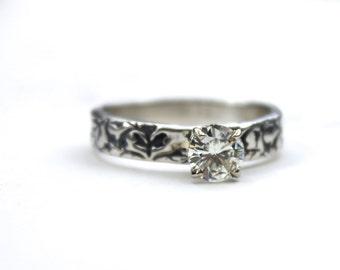 moissanite engagement ring . unique engagement ring . bohemian diamond alternative . silver moissanite engagement ring by peacesofindigo
