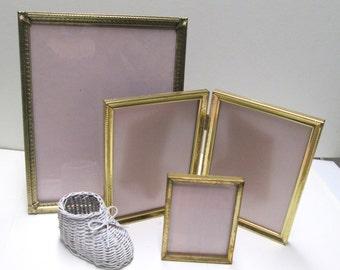 Metal Frame Set 4 Vintage Wedding Display Frames Hollywood Regency Ornate Gold Silver Brass Easel Photo Picture Frame Instant Collection Lot