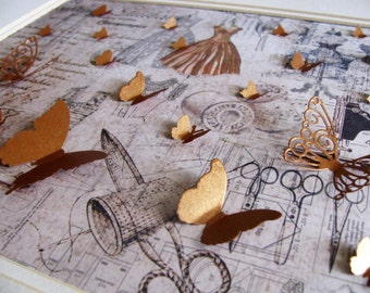 Shimmery Copper 3D Butterflies Adorn French-Inspired, Vintage-Looking Haute Couture Scene / 8x10 inches / Ready to Ship
