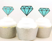 Blue and Silver Metallic Diamond Cupcake Toppers - Set of 12