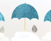 It's a Shower Cupcake Toppers - Set of 12  Glitter Umbrella Cupcake Toppers - Rainy days