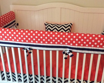 Coral and Navy Bumperless Crib Bedding Made to Order
