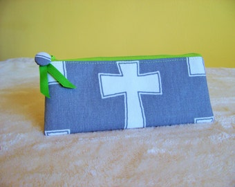 PEN & PENCIL Pouch SMALL zipper pouch in grey and white Cross with lime green accents