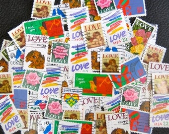 Fifty (50) vintage Love  stamps for crafting, scrapbooking, collecting