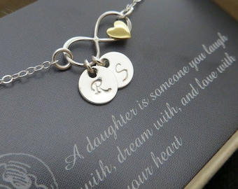 Gift for bride from mother, Couples initials, personalized infinity necklace & heart, infinity initial necklace, gift for daughter, wedding