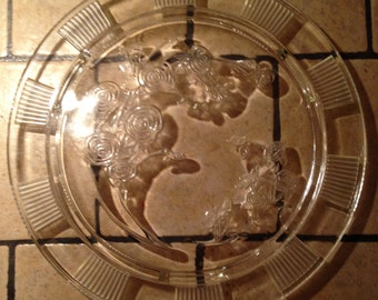 Large Clear Glass Cake Plate with Roses