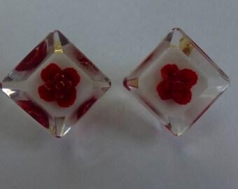 Vtg Reverse Carved Lucite Earrings Red Rose