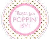 Baby Shower Thanks for Poppin' By labels, Gold Dots and Pink Thanks for Popping By Stickers, Baby Shower Labels