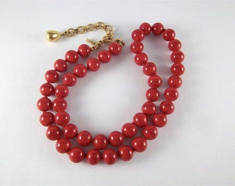 Vintage Red Glass Bead Necklace - Signed Monet Necklace