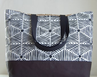 Heni Black XL Extra Large BIG Tote Bag / Beach Bag - Ready to Ship