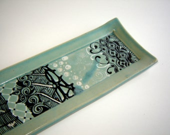 Jewelry Dish - Zentangle Design - Ceramic Butter Dish - Valet Tray - Hand Drawn - Turquoise Pottery - Candle Holder