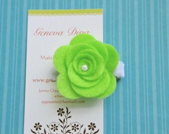 Neon Green Felt Rosette Hairclip