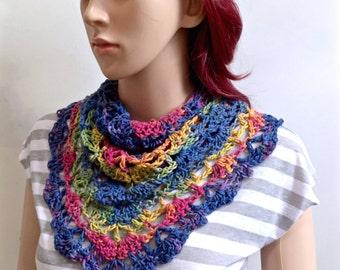 Oceanside Neck Scarf / DoRag - Beach Collection - Ty Dy 100 percent Designer Cotton Yarn - Rainbow Colors - All Season Accessory